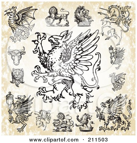 Royalty-Free (RF) Clipart Illustration of a Digital Collage Of Fantasy Creatures by BestVector