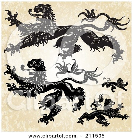 Royalty-Free (RF) Clipart Illustration of a Digital Collage Of Heraldic Lions by BestVector