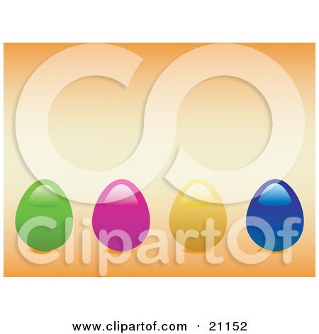 Clipart Illustration of Green, Pink, Yellow And Blue Colored Easter Eggs In A Row Over A Pale Orange Background by elaineitalia