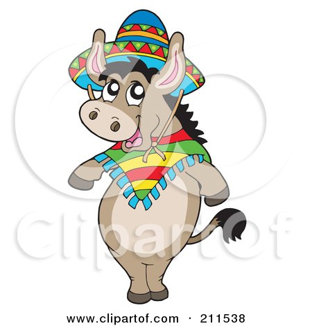 Royalty-Free (RF) Clipart Illustration of a Cute Mexican Donkey Wearing A Sombrero by visekart