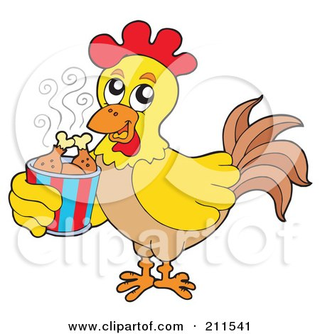 Royalty-Free (RF) Clipart Illustration of a Rooster Carrying A Bucket Of Chicken Drumsticks by visekart