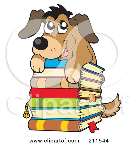 Royalty-Free (RF) Clipart Illustration of a Cute Dog On Top Of A Stack Of Books by visekart