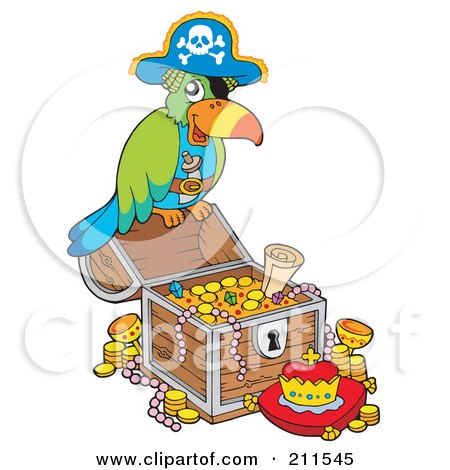 Royalty-Free (RF) Clipart Illustration of a Pirate Parrot With Treasure by visekart