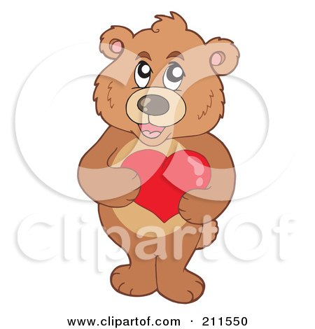 Royalty-Free (RF) Clipart Illustration of a Cute Bear Holding A Red Heart by visekart