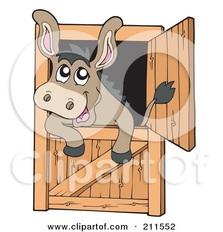 Royalty-Free (RF) Clipart Illustration of a Cute Donkey Looking Out Of A Stable Door by visekart