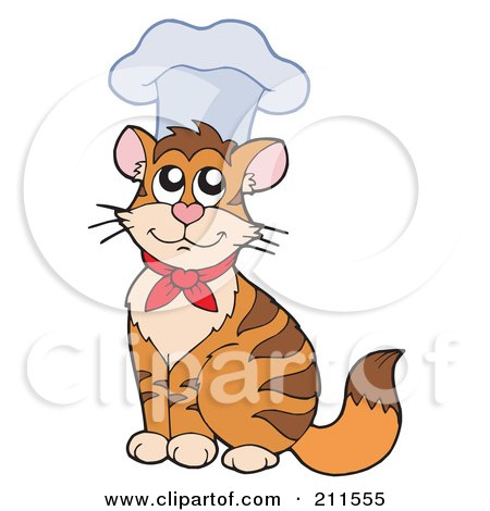 Royalty-Free (RF) Clipart Illustration of a Cute Chef Cat Wearing A Hat by visekart