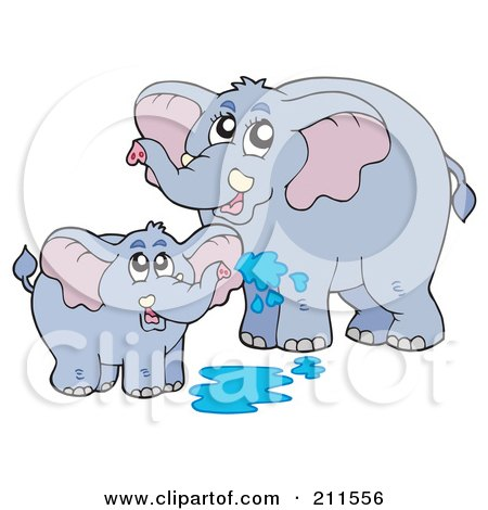 Cute Baby And Mother Elephant Playing In Water Posters, Art Prints