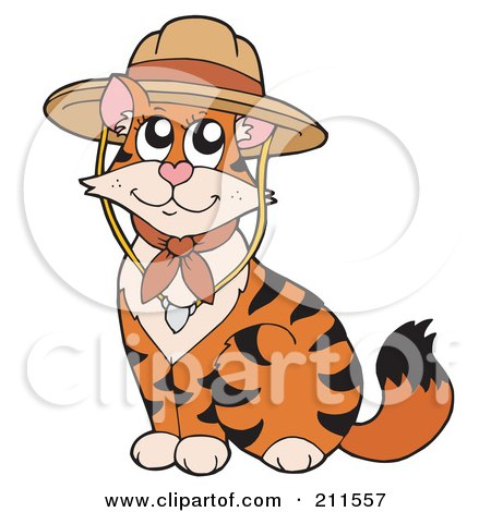 Royalty-Free (RF) Clipart Illustration of a Cute Cat Wearing A Scout Hat by visekart