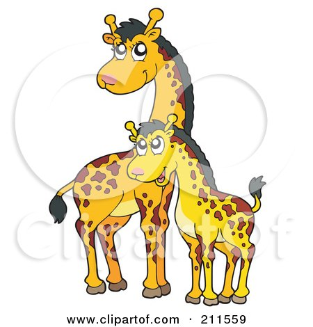 Royalty-Free (RF) Clipart Illustration of a Cute Mother And Baby Giraffe by visekart