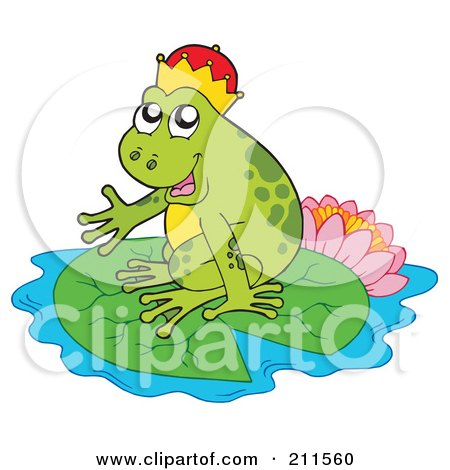 Royalty-Free (RF) Clipart Illustration of a Cute Frog Prince On A Lily Pad By A Lotus by visekart