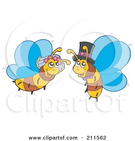 Royalty-Free (RF) Clipart Illustration of a Honey Bee Bride And Groom by visekart