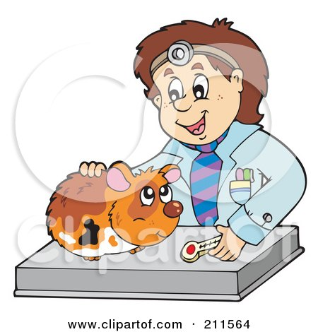 Royalty-Free (RF) Clipart Illustration of a Friendly Veterinarian Attending To A Cute Hamster by visekart