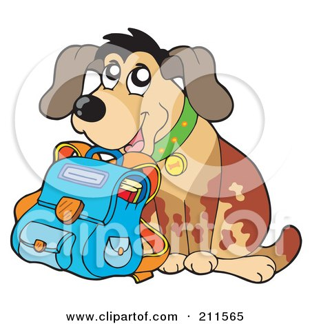 Royalty-Free (RF) Clipart Illustration of a Happy Dog Student With A School Bag by visekart