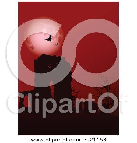 Clipart Illustration of Vampire Bats Circling In Front Of A Full Moon In A Red Night Sky, High Above The Ruins Of An Old Abbey And Bare Trees by elaineitalia