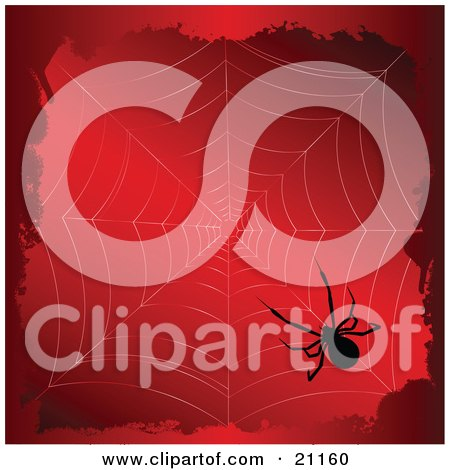 Clipart Illustration of a Creepy Black Widow Spider In The Corner Of Its Newly Spun Web, Silhouetted Over A Red Background by elaineitalia