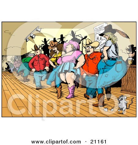 Clipart Illustration of a Crowd Of Country Folk, Men And Women, Line Dancing In A Bar With A Mouse by Holger Bogen