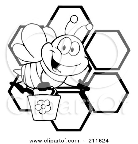 Royalty Free RF Clipart Illustration Of A Black And White Bee Waving Carrying Bucket Over Honeycombs By Hit Toon