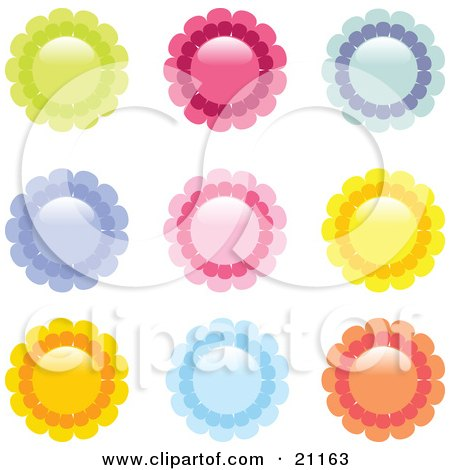 Clipart Illustration of a Collection Of Green, Red, Blue, Purple, Pink, Yellow And Orange Flower Icons On A White Background by elaineitalia