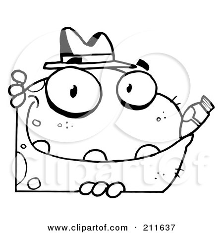 Royalty-Free (RF) Clipart Illustration of an Outlined Mobster Frog With A Hat And Cigar by Hit Toon