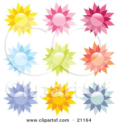 Clipart Illustration of a Collection Of 9 Yellow, Pink, Red, Blue, Green, Orange And Purple Floral Icons On A White Background by elaineitalia