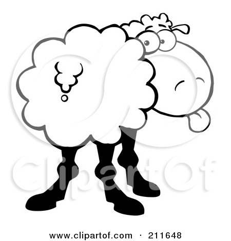 Royalty-Free (RF) Clipart Illustration of a Black And White Sheep Sticking Its Tongue Out And Looking Back by Hit Toon