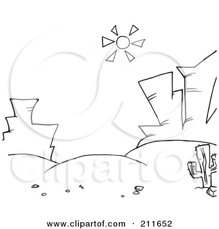 Royalty Free RF Clipart Illustration Of A Coloring Page Outline Sun Shining Down On Rock Formations In Desert Landscape By Hit Toon