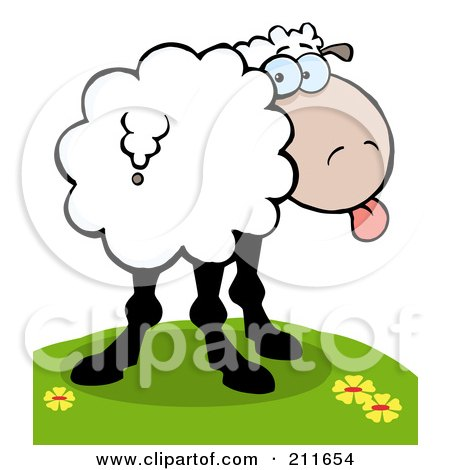 Royalty-Free (RF) Clipart Illustration of a Goofy Sheep On A Hill, Sticking Its Tongue Out And Looking Back by Hit Toon