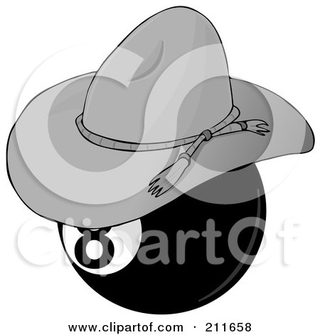 Royalty-Free (RF) Clipart Illustration of a Billiards Eight Ball Wearing A Cowboy Hat by djart