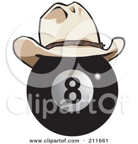 Royalty-Free (RF) Clipart Illustration of a Black Eight Ball Wearing A Cowboy Hat by Dennis Holmes Designs