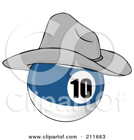 Royalty-Free (RF) Clipart Illustration of a Blue And White 10 Billiards Pool Ball Wearing A Cowboy Hat by djart