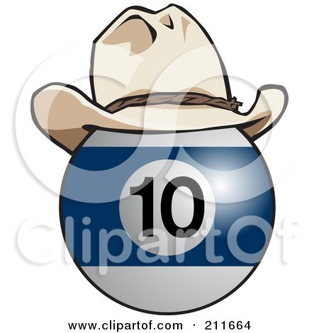 Royalty-Free (RF) Clipart Illustration of a Blue And White 10 Billiards Ball Wearing A Cowboy Hat by Dennis Holmes Designs