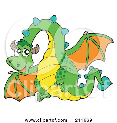 Royalty-Free (RF) Clipart Illustration of a Green And Orange Dragon Flying by visekart