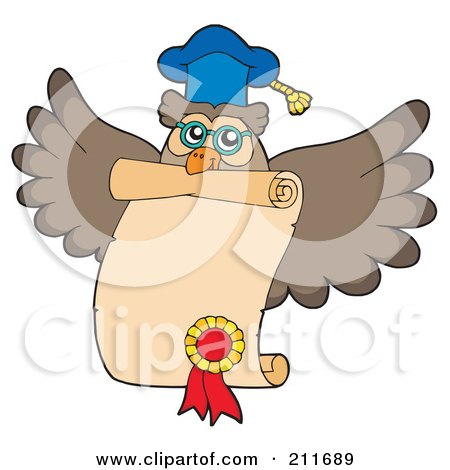 Royalty-Free (RF) Clipart Illustration of an Owl Teacher Flying With A Certificate by visekart