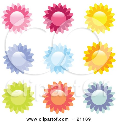 Clipart Illustration of a Collection Of 9 Pink, Red, Yellow, Purple, Blue, Orange, And Green Flower Icons On A White Background by elaineitalia