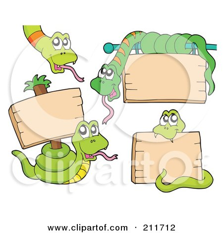 Royalty-Free (RF) Clipart Illustration of a Digital Collage Of Green Snakes With Blank Signs by visekart