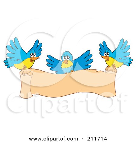 Royalty-Free (RF) Clipart Illustration of Three Blue And Yellow Birds Carrying A Blank Scroll Banner by visekart