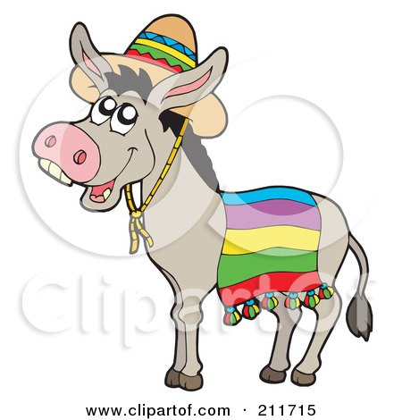 Royalty-Free (RF) Clipart Illustration of a Cute Donkey Wearing A Mexican Sombrero by visekart