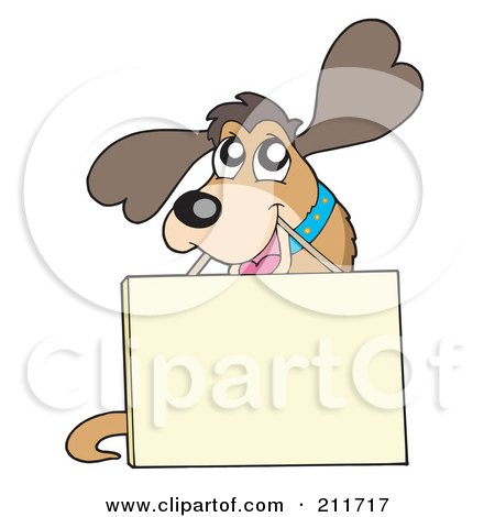 Royalty-Free (RF) Clipart Illustration of a Cute Friendly Dog Carrying A Sign On A String by visekart