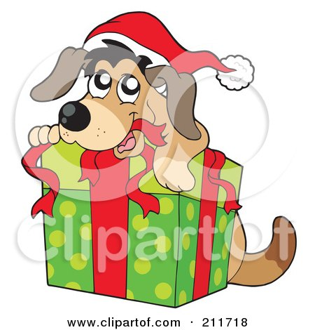 royalty free rf clipart illustration of a christmas dog opening a rh clipartof com  christmas dog clipart free