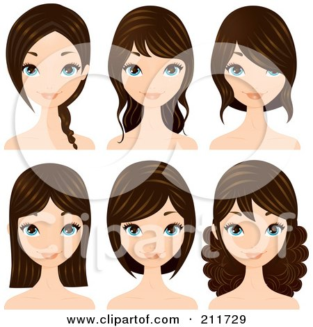 Royalty-Free (RF) Clipart Illustration of a Digital Collage Of A Pretty Blue Eyed, Brunette Woman With Different Hair Styles by Melisende Vector