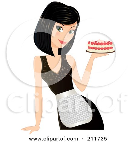 Royalty-Free (RF) Clipart Illustration of a Pretty Black Haired Woman In An Apron, Holding A Cake In Hand by Melisende Vector
