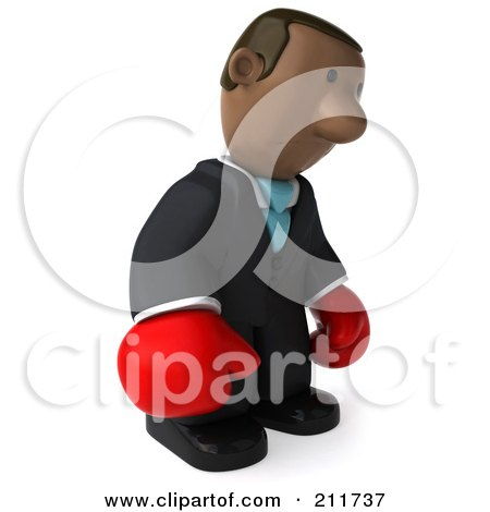 Royalty-Free (RF) Clipart Illustration of a 3d Black Business Man Wearing Boxing Gloves And Pouting by Julos