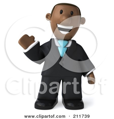 Royalty-Free (RF) Clipart Illustration of a 3d Black Business Man Facing Front And Waving by Julos