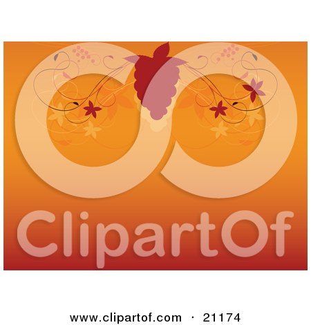 Clipart Illustration of a Silhouetted Grapevine And Bunch Of Grapes Above A Gradient Orange Background by elaineitalia
