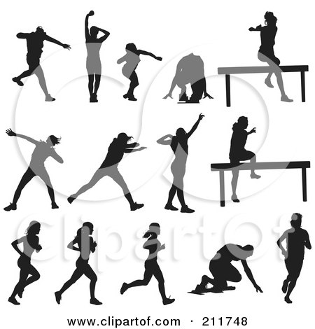 Royalty-Free (RF) Clipart Illustration of a Digital Collage Of Silhouetted Athletes In Different Poses by Paulo Resende