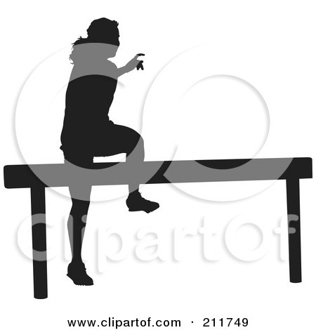 Royalty-Free (RF) Clipart Illustration of a Black Silhouetted Woman Jumping Over A Hurdle On A Track by Paulo Resende