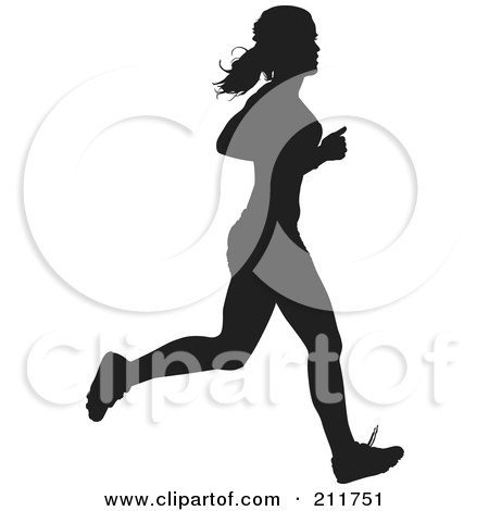 Royalty-Free (RF) Clipart Illustration of a Healthy Black Silhouetted Track Woman Running by Paulo Resende