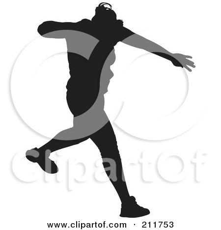 Royalty-Free (RF) Clipart Illustration of a Black Silhouetted Male Track Athlete Running by Paulo Resende