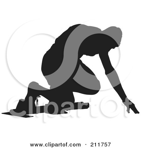 Royalty-Free (RF) Clipart Illustration of a Black Silhouetted Man On The Start Line Of A Track by Paulo Resende