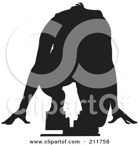 Royalty-Free (RF) Clipart Illustration of a Black Silhouetted Man Ready To Take Off On The Start Line Of A Track by Paulo Resende